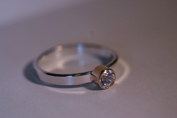 WDW - 14K Gold and Silver Ring with 4mm Gemstone - All Birthstones Available - Made to Order