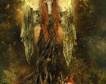 SALE Forest Spirit 11 x 14 inch Art Print Dryad Goddess Fantasy Illustration