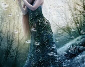 SALE The Dryad Sunlight, 8 x 11 inch Tree Goddess Spring Fantasy Art Print