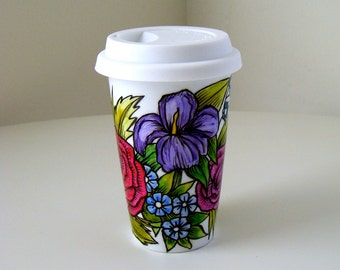 Ceramic Coffee Travel Mug Hand Painted Flower Garden Botanical Roses Daisies Iris nature illustrated - MADE TO ORDER