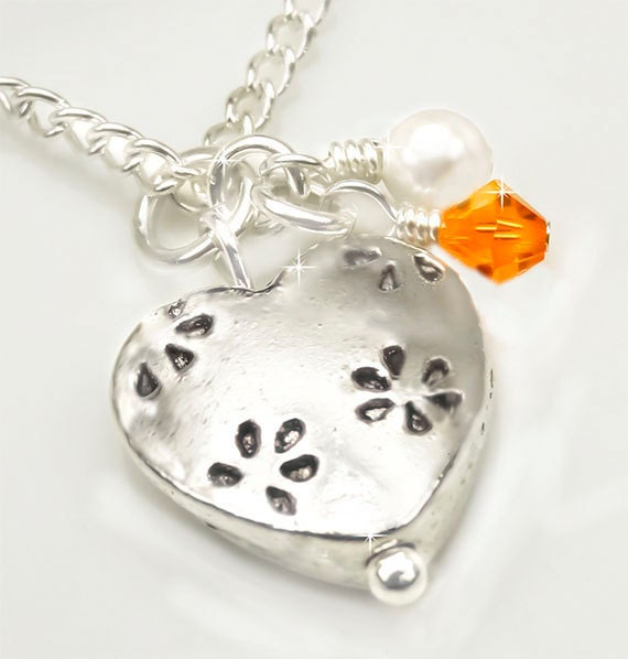 Multiple Sclerosis Necklace, Silver Heart Pendant with Orange Swarovski Crystal and White Swarovski Pearl MS Necklace - Sandy NMS0027