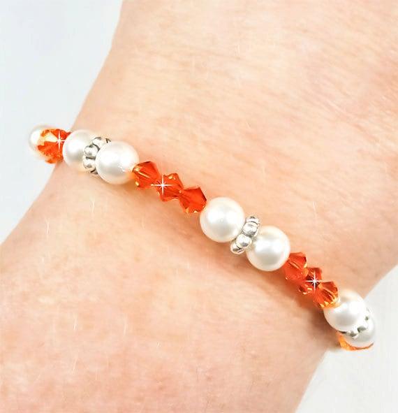 Multiple Sclerosis Bracelet, Orange Swarovski Crystal and White Pearl MS Bracelet - Brenda BMS0040