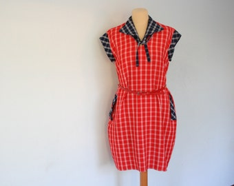 70s Red Sailor Dress Nautical Plaid Medium