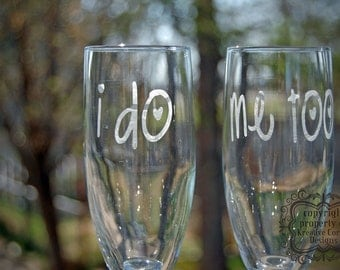 I Do & Me Too Etched Champagne Flute