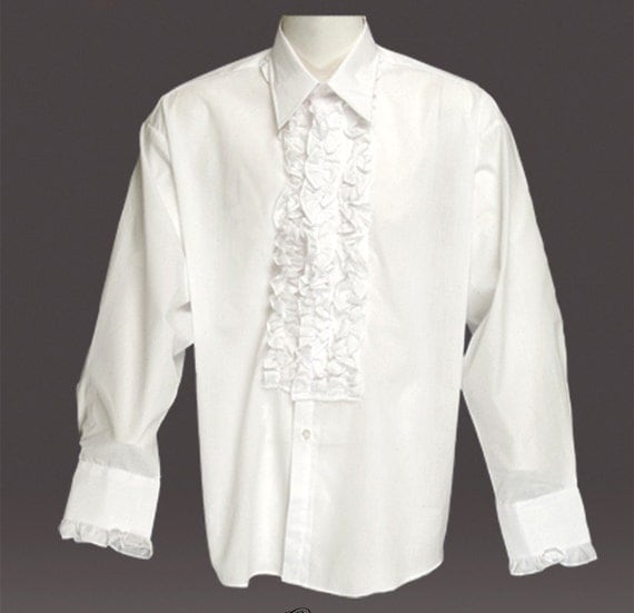 Made to order men 39 s 1970s retro styled ruffled formal for Frilly shirts for men