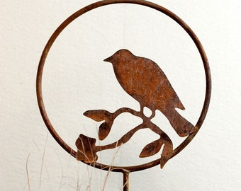 Bird Metal Garden Art Stake -FREE SHIPPING-Handmade-Home and Garden Decor Sculpture
