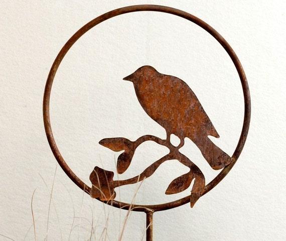 Bird Metal Garden Art Stake -FREE SHIPPING-Handmade-Home and Garden Decor Sculpture- Order Now For Mother's Day!