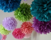 Custom Colors .. 10 Party Poms / Birthday Party Decor / Baby Shower / Wedding Decoration / Party Decoration