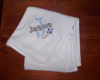 Monogrammed Baby Blanket, Personalized Baby Blanket, Airplane Blanket, Baby Boy Blanket, Baby Girl Blanket