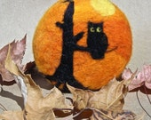 Halloween Felted Soap Owl in a Tree Silhouette Eco Friendly