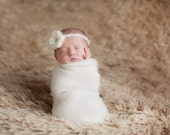 Baby girl headband fuzzy crochet flower Your Choice of color newborn photo prop
