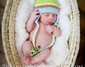 Newborn baby boy hat blue and green stripe beanie