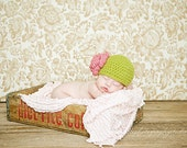 Newborn size apple green cloche with dusty pink flower- or pick your own colors
