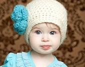 Cream and Turquoise hat baby girl 6-12 month cloche beanie with flower and pearls