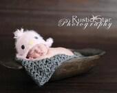 Bird hat Newborn to 12-24 months baby girl Pink Birdy beanie with earflaps