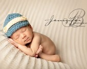 Newborn Newsboy baby boy Newsie hat beanie in dusty blue with beige strap