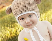 3-6 month monkey hat with earflaps