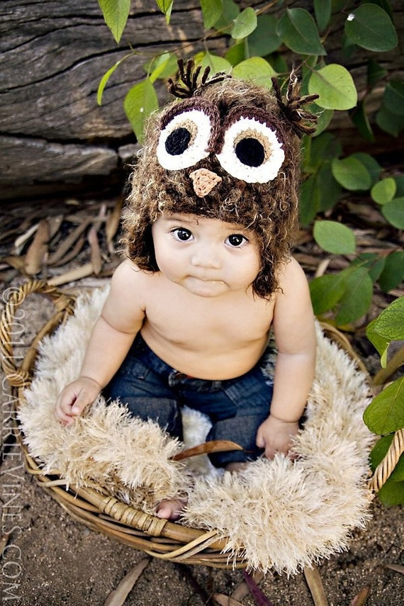 12-24 month size Owl hat- brown fuzzy owl hat with earflaps