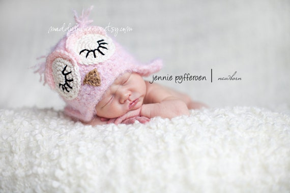 Owl hat baby girl 0-3 month sleeping pink fuzzy owl beanie with earflaps
