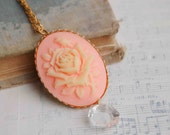 Peach ROSE CAMEO Pendant Romantic Orange Creamsicle Botanical Flower Pendant