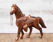 Vintage HORSE Carnival Horse Cowboy Copper Equestrian  Equine Carnival Prize Souvenir  Rustic Cast Metal Horse Western 1950's