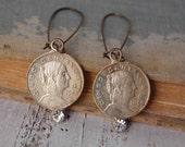 Vintage Silver Coin EARRINGS Rhinestones Silver Mexican Money Retro Folk Hipster Bohemian Gypsy