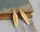 Gold FEATHER  EARRINGS Woodland Nature Bird Autumn Bohemian
