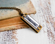 Tiny SILVER Harmonica Necklace Song Music Retro Rocker Musical Instrument Hohner Toy Music Lover