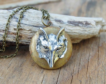 Fox Locket Pendant, Wolf Necklace, Forest Pendant, Autumn Locket, Boho Wolf Locket, Wilver Fox, Gift for Her, Gift for Him, Wolf Locket