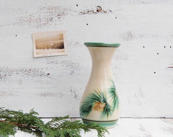 Vintage  PINE CONE Vase Retro Pottery Pine Needles Hand Painted Mid Century Winter Holiday Arts & Crafts