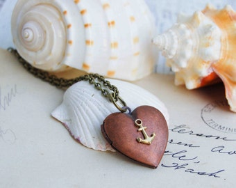 Sailor's Valentine Locket Pendant Nautical Heart Necklace Copper Locket Gift for Her Anchor Locket Pendant Gift for Him Valentine Gift