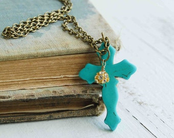 Turquoise CROSS Pendant Necklace Boho RusticSouthwestern Bohemian Goth Crucifix
