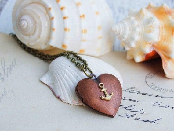 Sailor's VALENTINE Locket Necklace Nautical Ocean Copper Heart