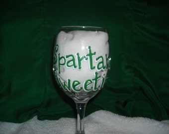 Personalized Michigan State Spartan Sweetie Wine Glass, Hand Painted Custom Glass, East Lansing, MSU, Graduation Gift, Birthday Gift