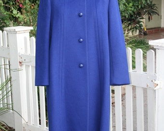 Berry Berry Blue - 1970's Wool Coat - by Bromley -  Winter or Spring Coat in Trending Blue - 40 Bust - Blue Wool Coat - Classic Style