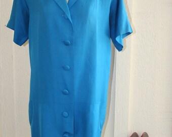1980's Vintage Shirt Dress - Blue Shirt Dress - Summer Blue Dress - Casual Day Dress - Plus Size Petite Dress - 40 Bust