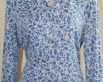Diane Von Furstenburg Dress - Icon - Career Professional Dress - Silk Shirt Dress - Op Art - Designer - DVF - Classic Traditional - 35 Bust