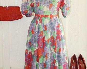 Vintage Designer Dress // 1960's Dress // Ingeborg Label by Swedish Designer Maria Andersson // Sheer Floral Fabric // Purple Red // 36 Bust