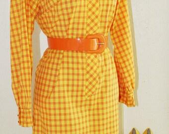 1970s Vintage Dress - Mod Plaid Dress - Orange Yellow Check - Fun Bold Summer Spring - Easy Wear Day Dress - Shift Dress - Sheath - 36 Bust
