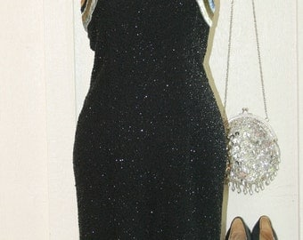 1970s Sequin Beaded Dress - NWT - Black and Rainbow Beads and Sequins by Jeet for Bonwit Teller -  Sexy Gown - Beaded Formal - Midi 34 Bust