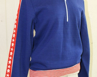 1960s 1970s - Vintage Warm Up Jacket - Track Suit Jacket -  Warm-up Top - Patriotic - Olympian - Sportswear - 36 bust