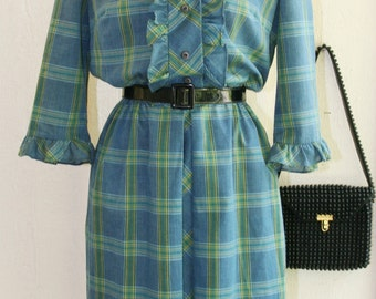 1960s Vintage Day Dress - Plaid Day Dress - Rockabilly - Retro Preppy - Hipster - Teacher - Classic Traditional - by Nellie Don - 38 Bust