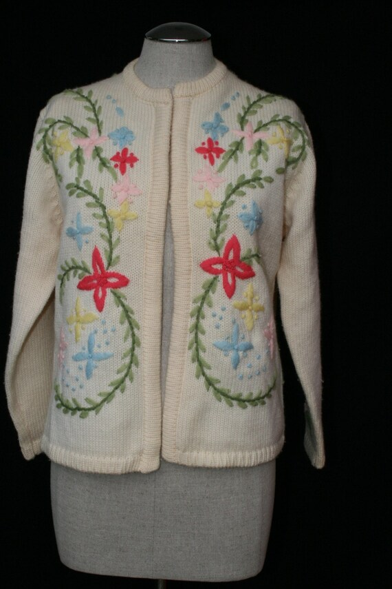 Joni loves Chachi - Pair this with your rolled up boyfriend jeans and Toms - Colorful Floral Embroidered Spring Sweater