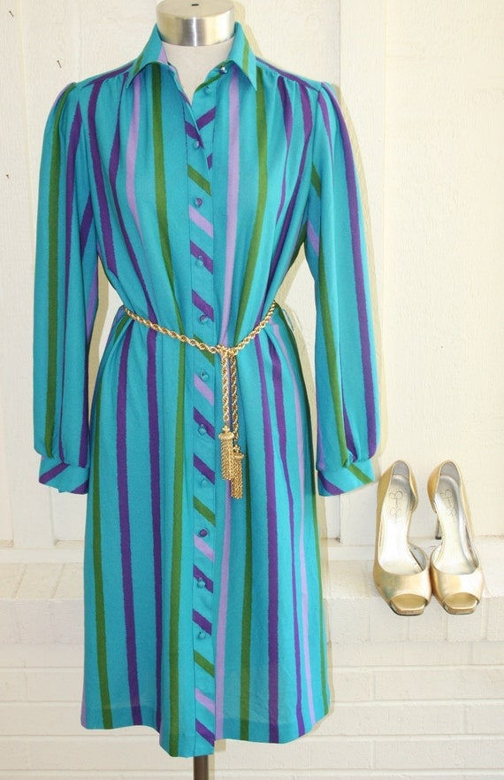Fiscally Conservative - Stripe Shirt Dress - Circa 70's by Ms. Sugar