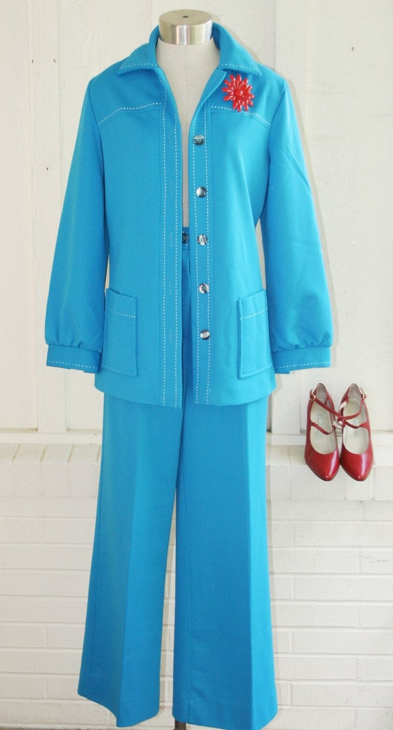 Got Swag - Circa 70's - Turquoise Top Stiched Pantsuit  - Retro Hipster