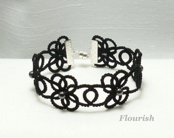 Tatting jewelry lace Bracelet with beads -Flourish in a bolder size MTO in your color choice