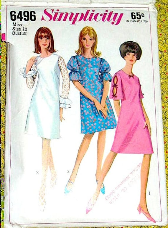 Vintage 1960s Simplicity 6496  60s Mod OnePiece Dress Pattern sewing pattern  Bust 31 waist 24 and hip 33 inches.