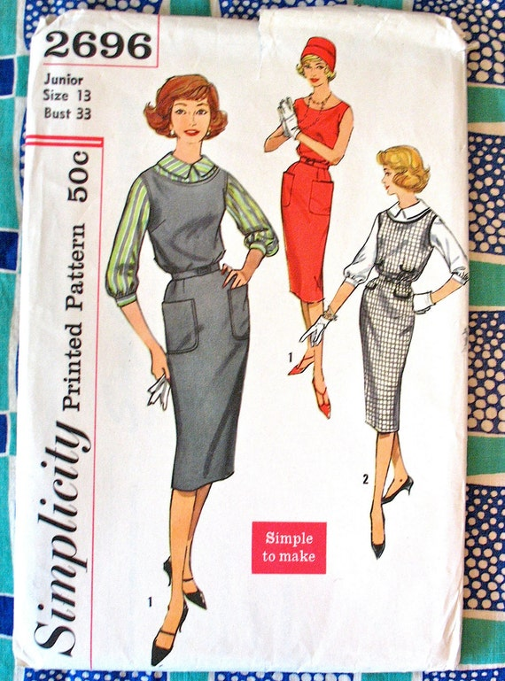 Vintage 1950s or early 60s Simplicity 2696  Sewing One Piece Wiggle Dress Pattern  Bust 33 inches  Women's Dress, Jumper or Blouse