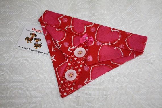 Red Hearts Bandana Sz S