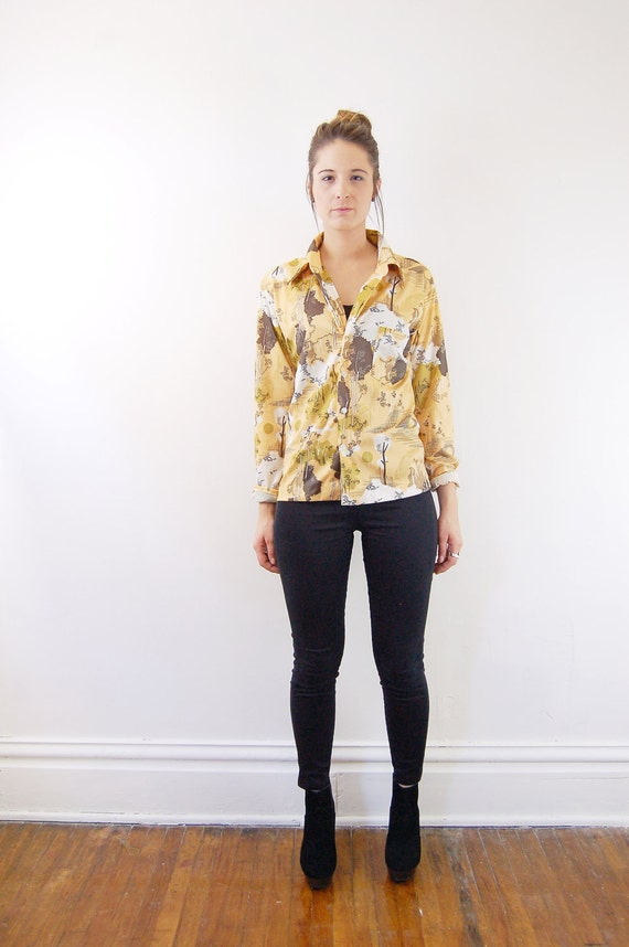 Additional 50 PERCENT OFF  Sale  Tree Print Shirt / 1970s / Patterned Yellow Blouse - S